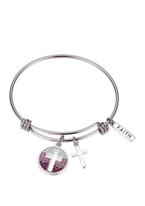 Belk Silverworks Adjustable Purple Ombre Crystal Faith Bangle