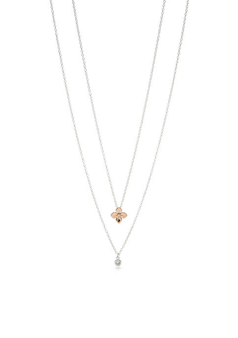 Two-Tone Flower and Cubic Zirconia Layer Necklace Set