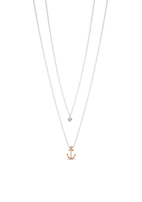 Belk Silverworks Two-Tone Anchor And Cubic Zirconia Necklace