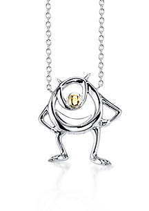 Sterling Silver Disney Pixar 10K Yellow Gold Two Tone Mike Monster Necklace