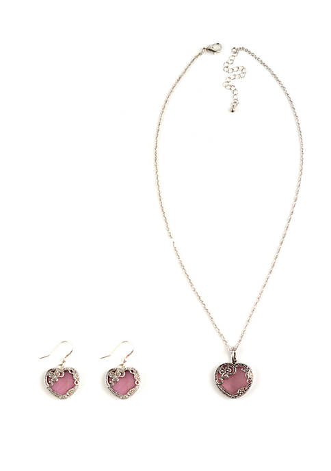 Kim Rogers® Boxed 3 Piece Pink Filigree Necklace