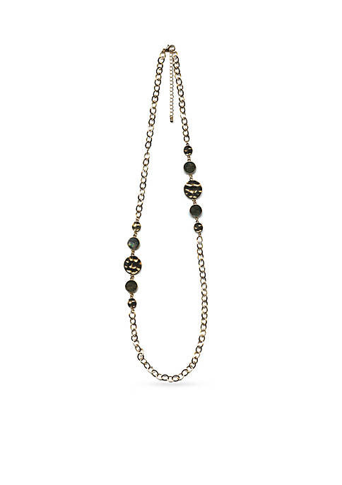 Gold-Tone and Abalone Disc Station Long Necklace