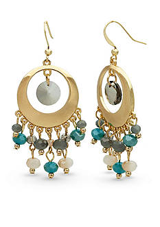 New Directions® Gold-Tone Open Circle Beaded Drop Earrings