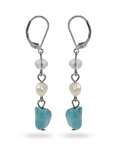 New Directions® Silver-Tone Turquoise and Freshwater Pearl Triple Drop Earrings