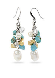 New Directions® Silver-Tone Turquoise and Freshwater Pearl Cluster Drop Earrings