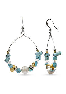 New Directions® Silver-Tone Turquoise and Pearl Gypsy Hoop Earrings