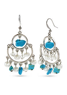 New Directions® Silver-Tone Turquoise and Freshwater Pearl Chandelier Earrings