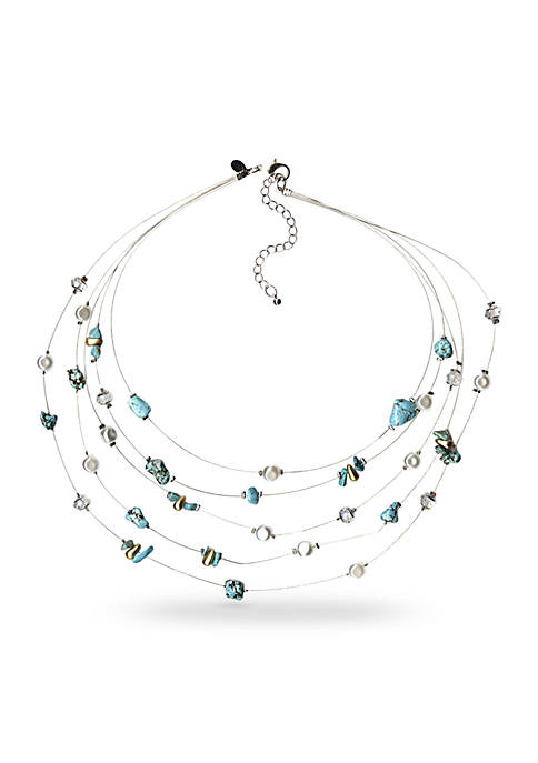 Silver-Tone Turquoise and Freshwater Pearl Illusion Necklace