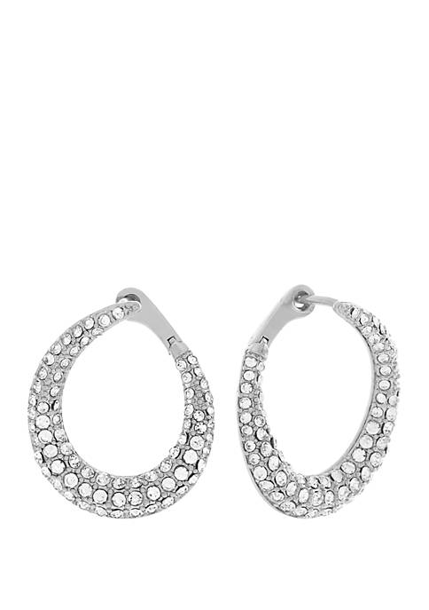 Jessica Simpson Pave Bypass Frontal Hoop Earrings