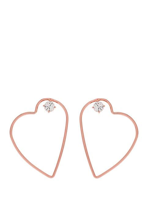 Jessica Simpson Heart Hoop Earrings with Cubic Zirconia