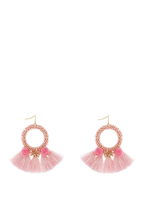 Jessica Simpson Frontal Seed Bead Tassel Hoop Earrings