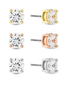 Tri-Tone Cubic Zirconia Triple Earring Set