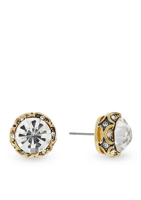 Jessica Simpson Uniform Romance Dark Channel Crystal Earrings