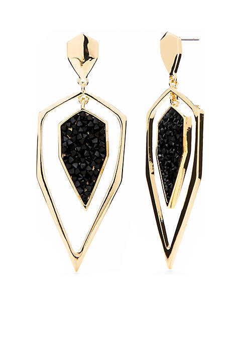Metal Dagger Stone Drop Earrings