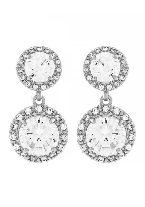 Jessica Simpson Silver-Tone Cubic Zirconia Earrings