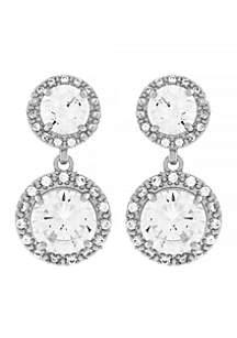Silver-Tone Cubic Zirconia Earrings