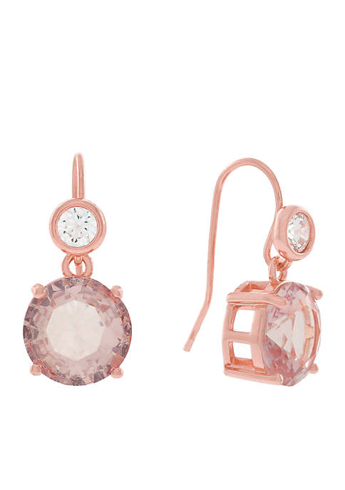 Jessica Simpson Rose Gold-Tone Stone Drop Earrings