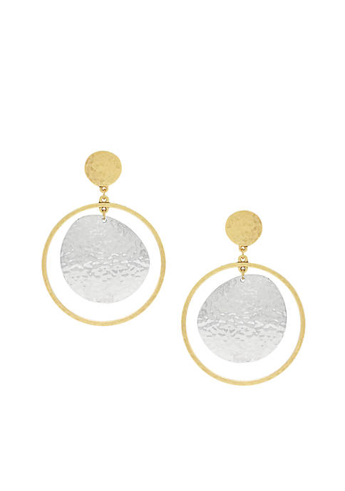 Jessica Simpson Two-Tone Moon Orbit Drop Earrings