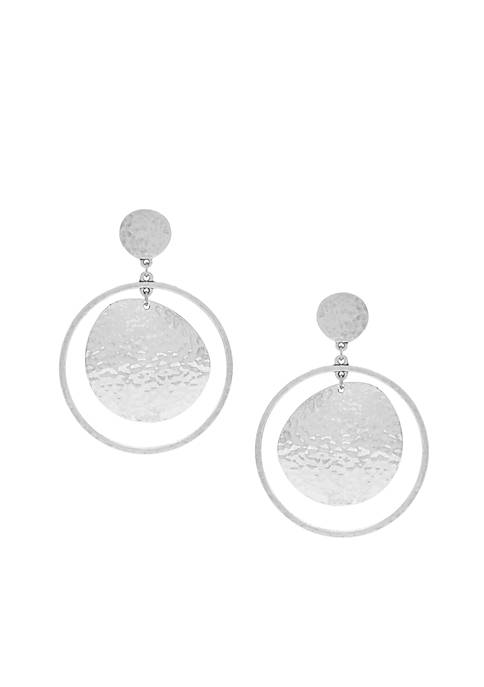 Jessica Simpson Silver-Tone Moon Orbit Drop Earrings