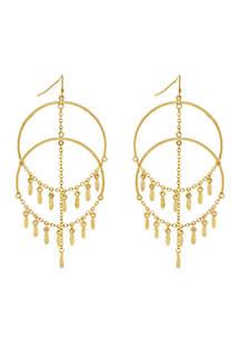 Gold-Tone Metal Double Hoop Chandelier Earrings
