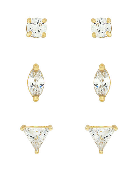 Jessica Simpson Gold-Tone Multi Cut Cubic Zirconia Stud