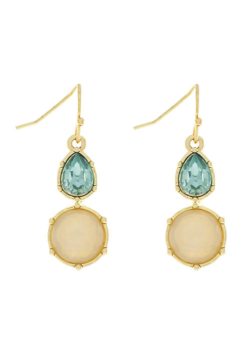 Jessica Simpson Gold-Tone Double Stone Drop Earrings