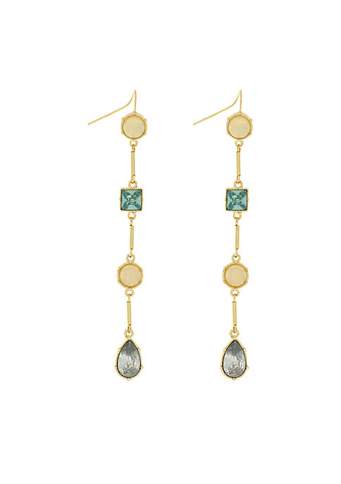 Jessica Simpson Gold-Tone Linear On Fixed Hook Earrings