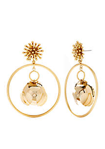Gold-Tone Frontal Hoop With Flower Charm Earrings
