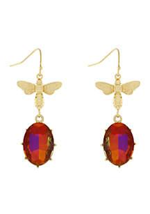Gold-Tone Bee Drop Earrings