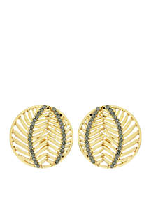 Gold-Tone Round Button Stud Earrings