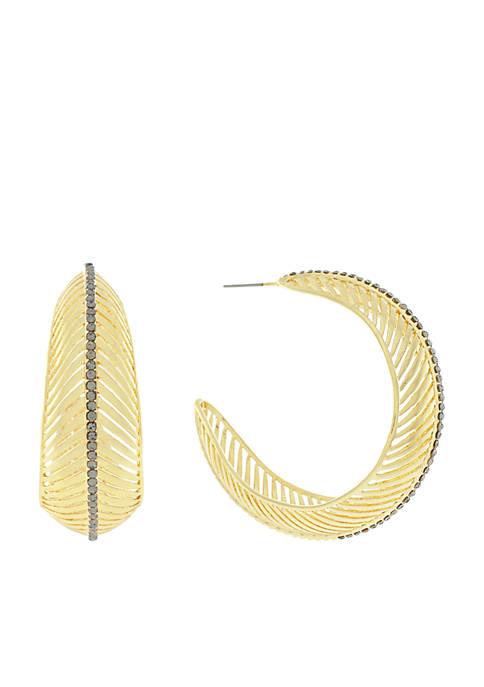 Gold-Tone Feather Hoop Earrings