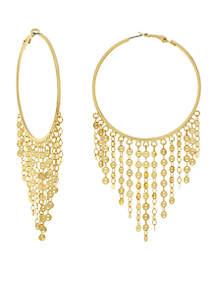 Gold-Tone Large Hoop Disc Fringe Earrings