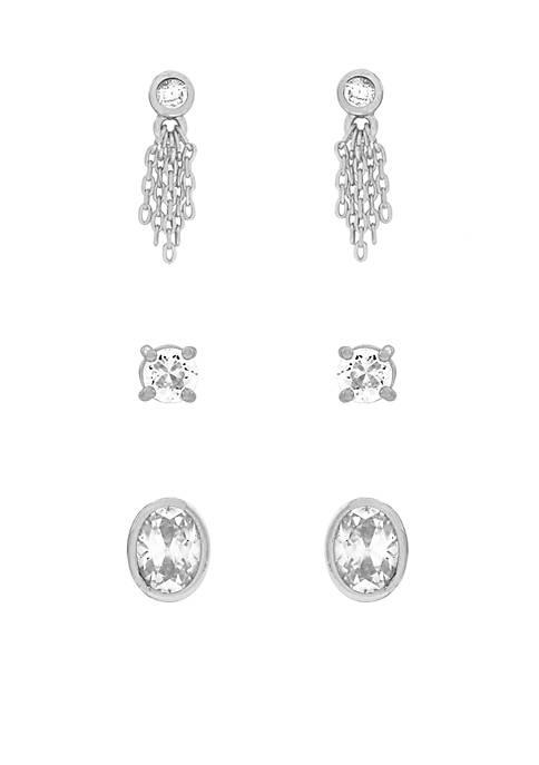 Jessica Simpson Silver-Tone Cubic Zirconia Earring Set
