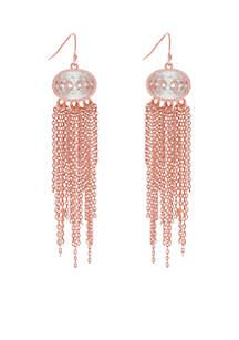 Rose-Gold Tone Oval Cubic Zirconia Fringe Earrings