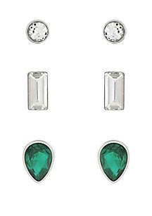 Green Crystal Earrings Set