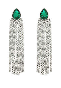 Green Post Back Rhinestone Drop Earrings