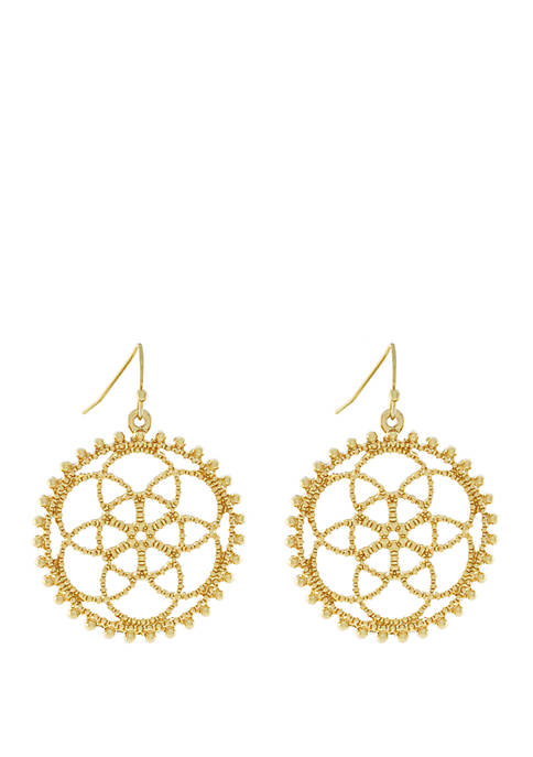 Jessica Simpson Gold Tone Round Filigree Drop Earrings