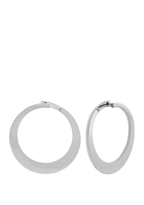 Jessica Simpson Silver Tone Bypass Hoop Earrings
