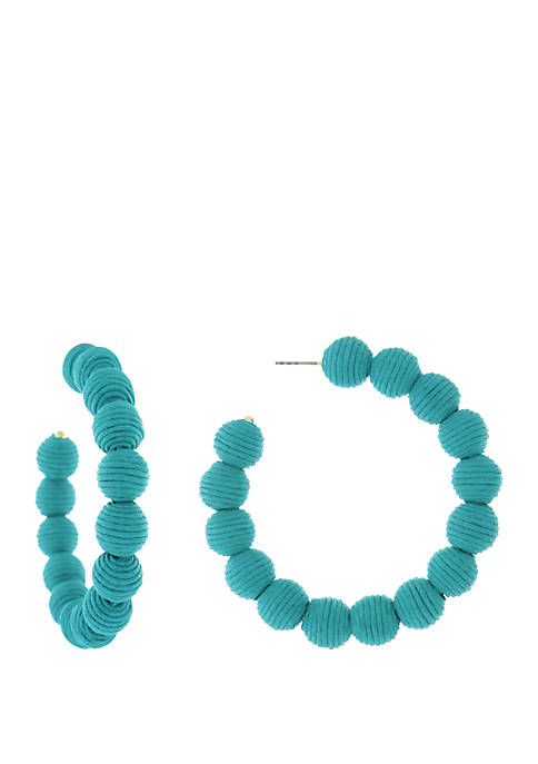 Large Blue Thread Ball Hoop Earrings