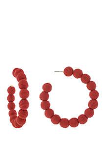 Jessica Simpson Large Thread Ball Hoop Earrings
