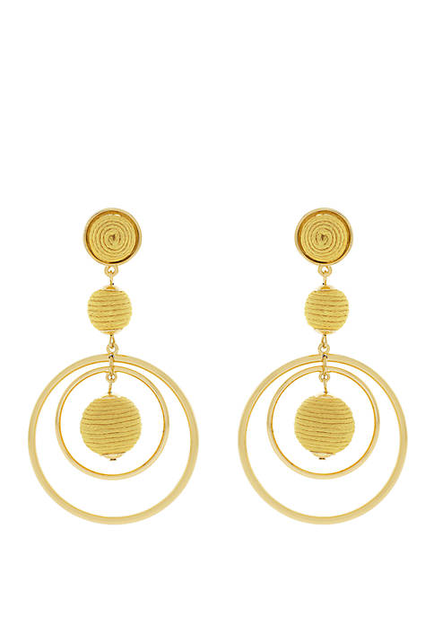 Thread Ball Front Hoop Earrings