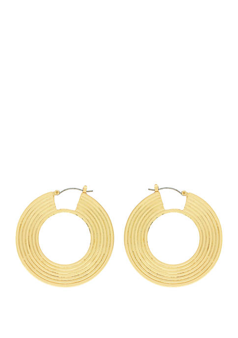 Jessica Simpson Gold Tone Coil Hoop Earrings