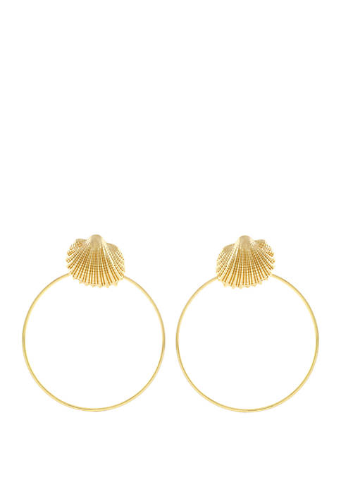 Jessica Simpson Textured Shell Frontal Hoop Earrings
