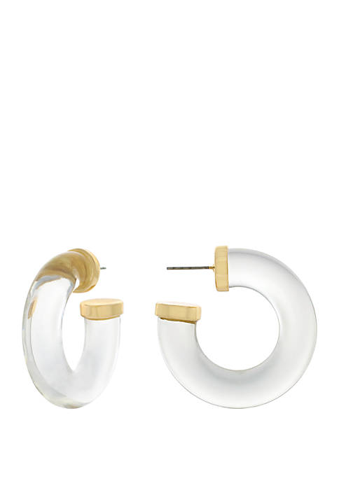 Tube Post Back Hoop Earrings