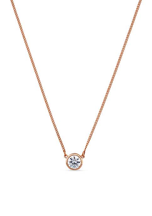 Rose Gold-Tone CZ Necklace