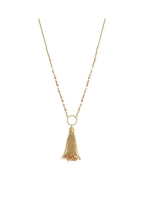 Jessica Simpson Gold-Tone Tassel By Moonlight Hoop Pendant