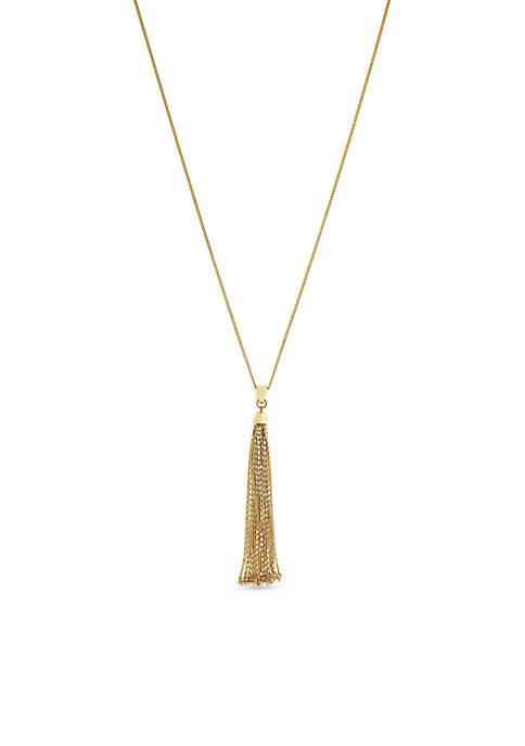 Jessica Simpson Gold-Tone Tassel Pendant Necklace