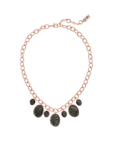 Jessica Simpson Rose Gold Tone Short Drama Necklace
