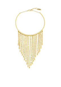 Gold-Tone Wire Disc Drama Necklace