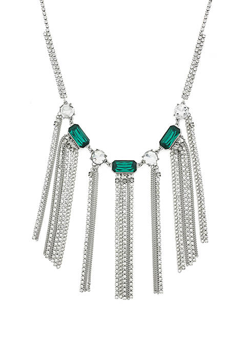 Green Stone and Crystal Fringe Necklace